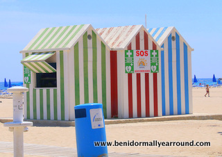 coloured first aid huts