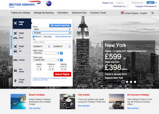 BA online booking website
