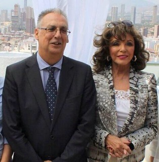 Holloywood legend Joan Collins with Benidorm Mayor Agustin Navarro