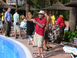 filming at poolside