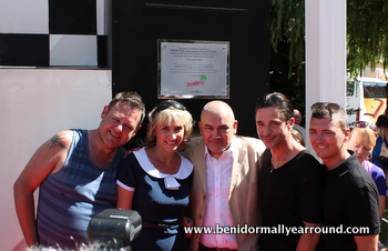 Plaque presentation together with benidorm cast members