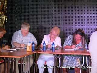 Actor Kenny Ireland at book signing in Benidorm